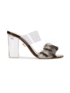 Sabrina Sandal - Faux fur with pvc, acrylic heel without wraps. Profile View
