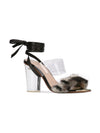 Sabrina Sandal - Faux fur with pvc, acrylic heel and removable wraps. Front Angle View