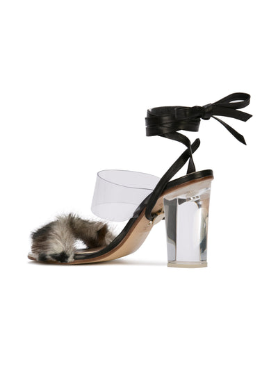 Sabrina Sandal - Faux fur with pvc, acrylic heel and removable wraps. Back Angle View