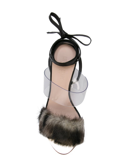 Sabrina Sandal - Faux fur with pvc, acrylic heel and removable wraps. Top View