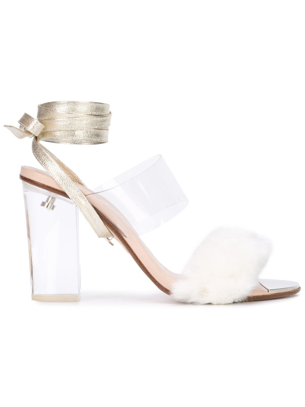 Sabrina Sandal - White faux fur with pvc, acrylic heel and removable wraps. Profile View