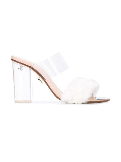 Sabrina Sandal - White faux fur with pvc, acrylic heel without wraps. Profile View