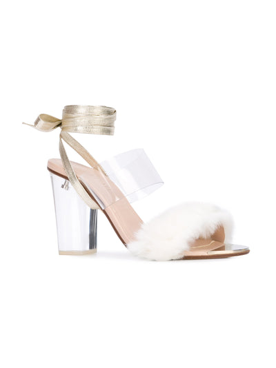 Sabrina Sandal - White faux fur with pvc, acrylic heel and removable wraps. Front Angle View