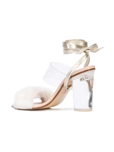 Sabrina Sandal - White faux fur with pvc, acrylic heel and removable wraps. Back Angle View
