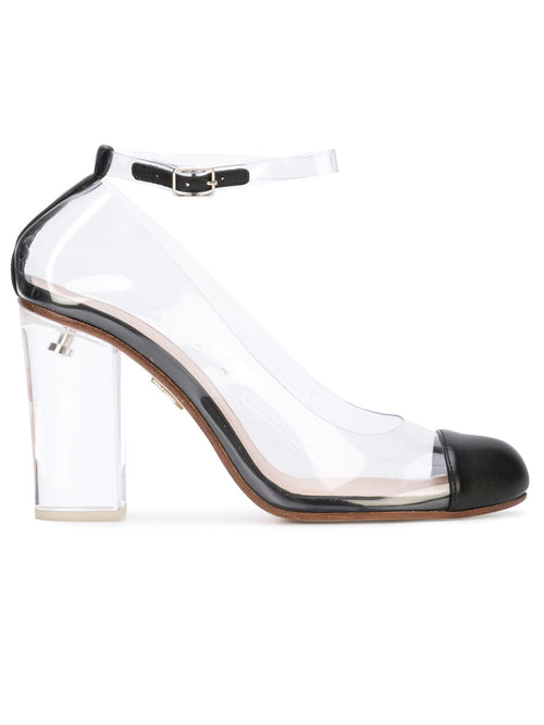 Vertigo - Nappa leather and pvc pump with acrylic heel. Profile View