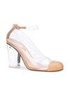 Vertigo - Beige nappa leather and pvc pump with acrylic heel. Front Angle View