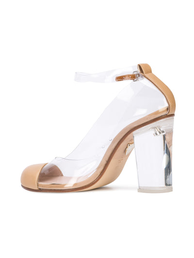 Vertigo - Beige nappa leather and pvc pump with acrylic heel. Back Angle View