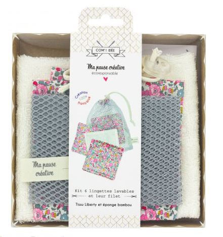 Kit de 6 lingettes Liberty + sac filet- COM'1 IDEE