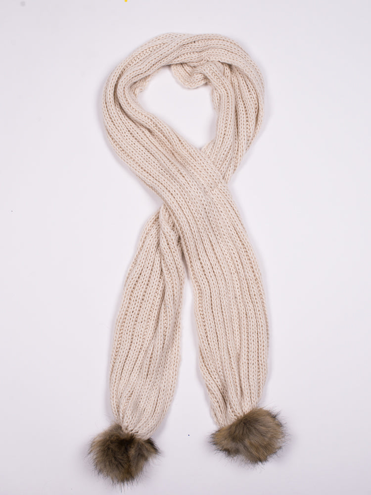 LILY FAUX FUR POM SCARF - CLEARANCE