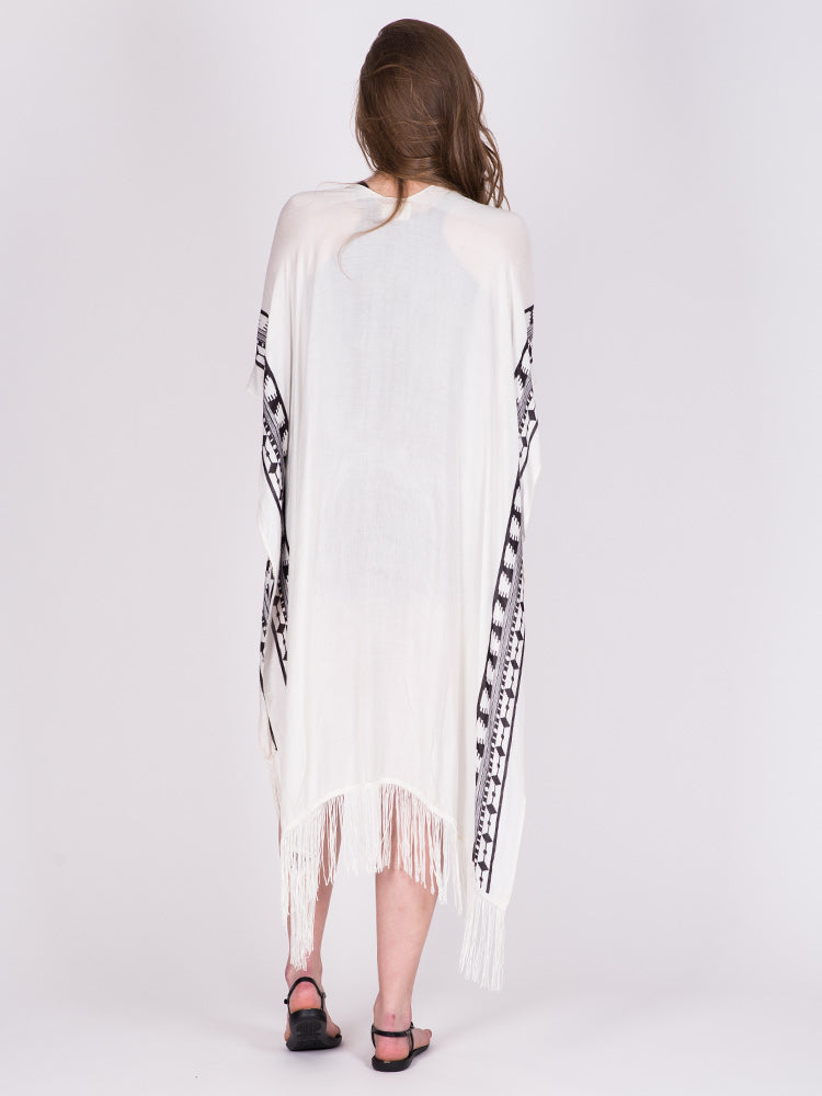 TRIBAL BORDER PONCHO SCARF- CLEARANCE