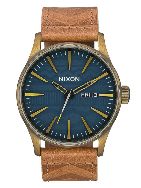 MENS SENTRY LTHR   BRASS/NAVY WATCH