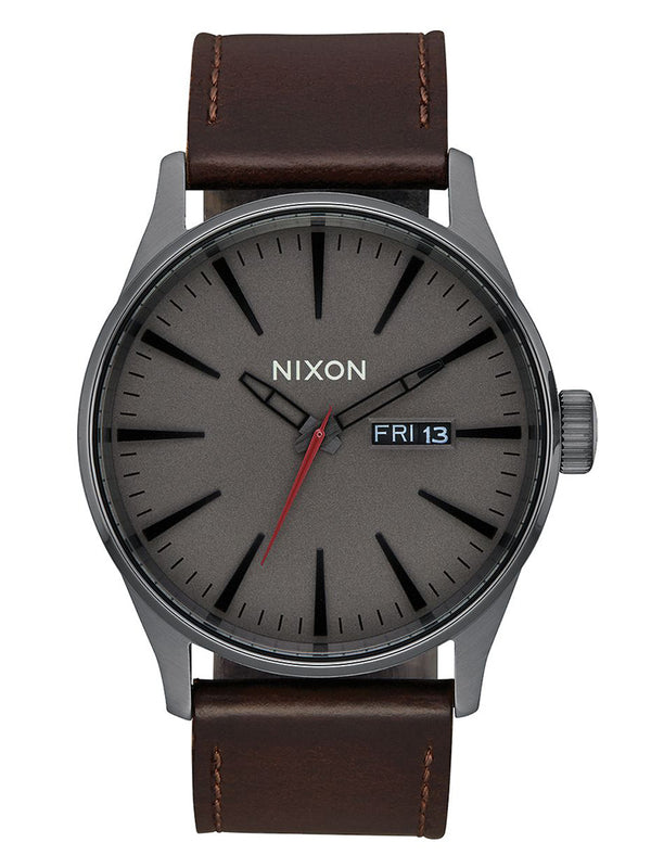 MENS SENTRY LTHR - GUNMETAL/BLACK WATCH