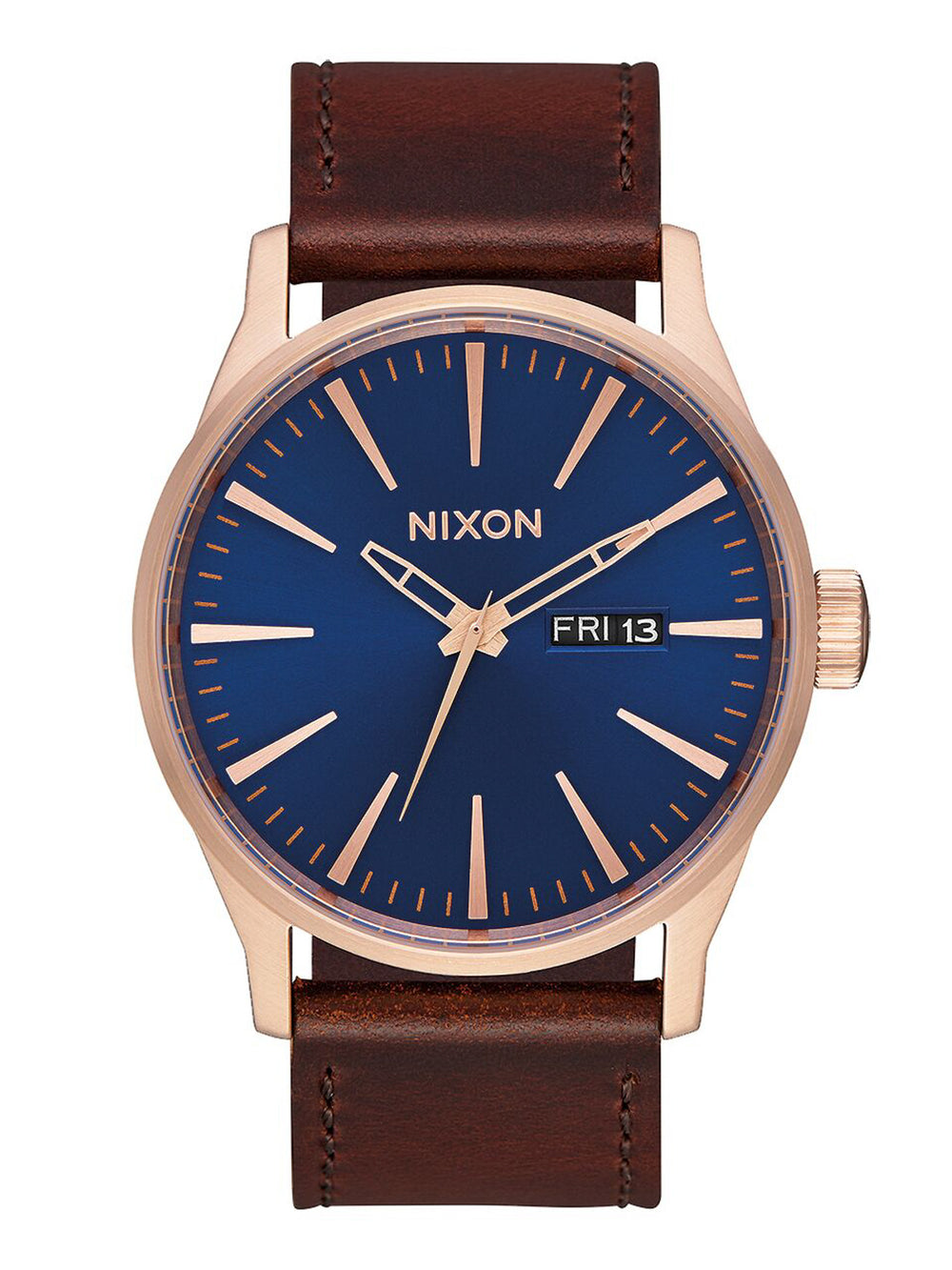 MENS SENTRY LEATHER - ROS/NVY/BRN WATCH