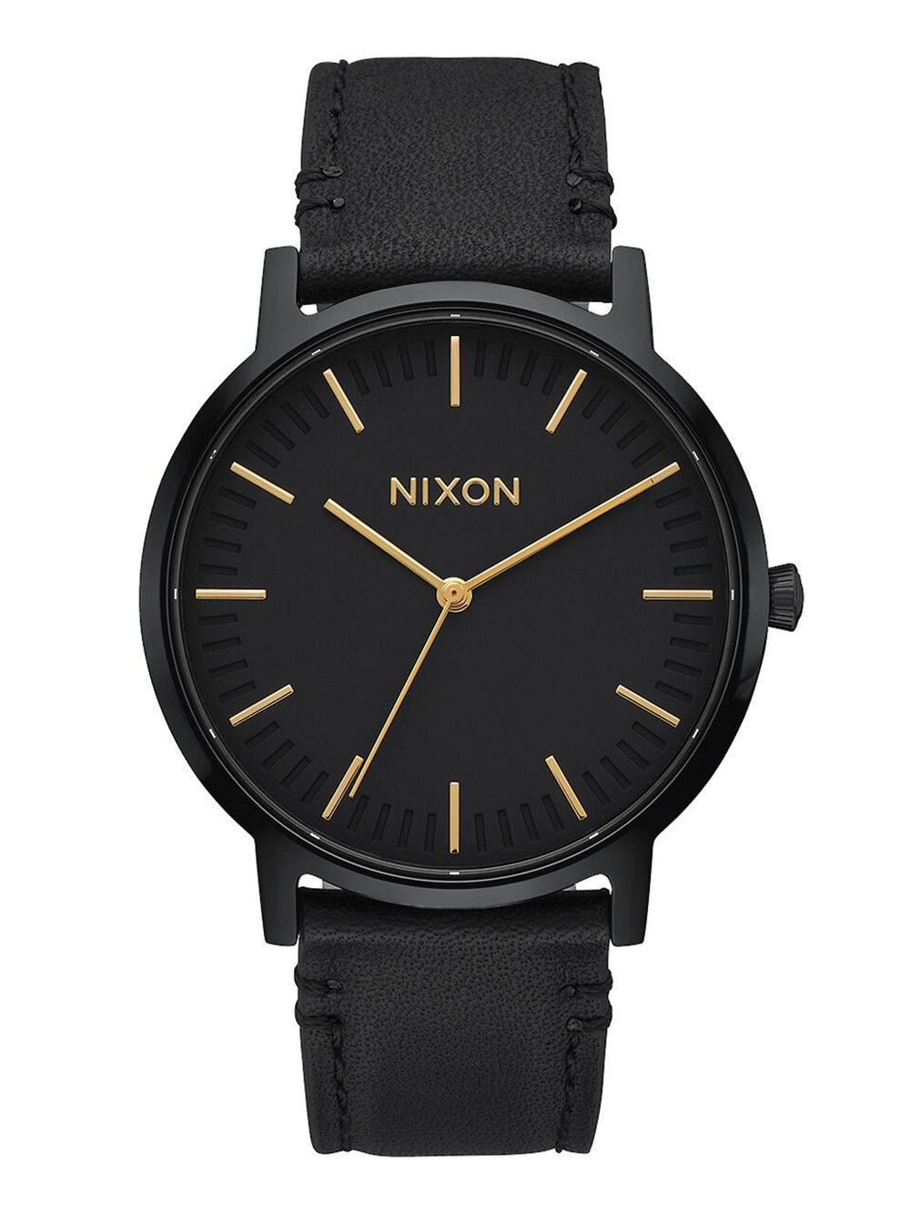 MENS PORTER LEATHER - ALL BLACK/GOLD WATCH