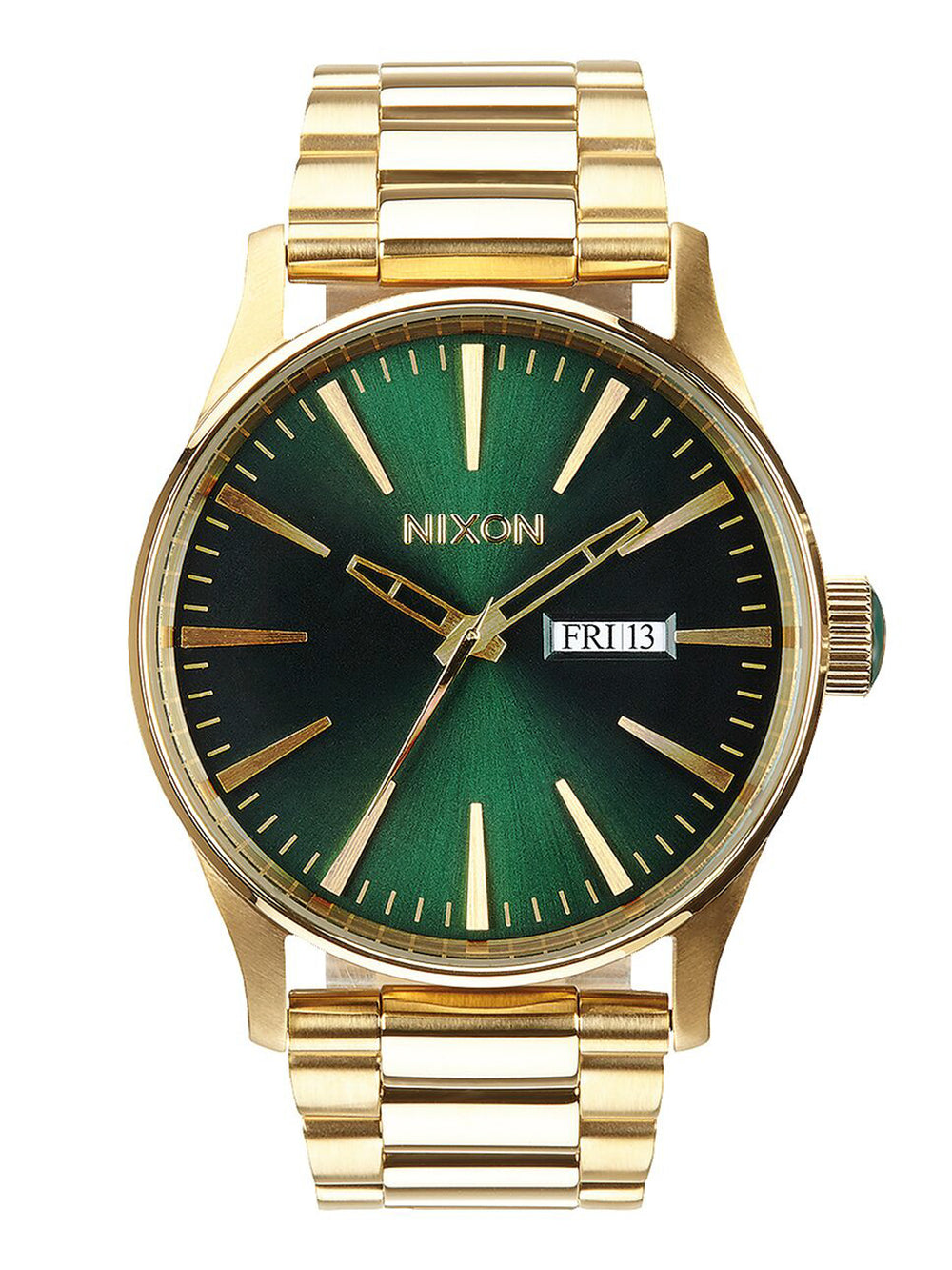 MENS SENTRY SS - GOLD/GREEN SUNRAY WATCH