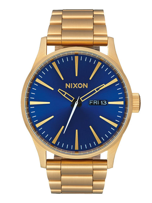 MENS SENTRY SS   GOLD/BLUE SUN WATCH