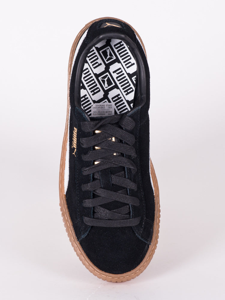 WOMENS SUEDE PLATFORM CORE NOIR SNEAKERS- CLEARANCE