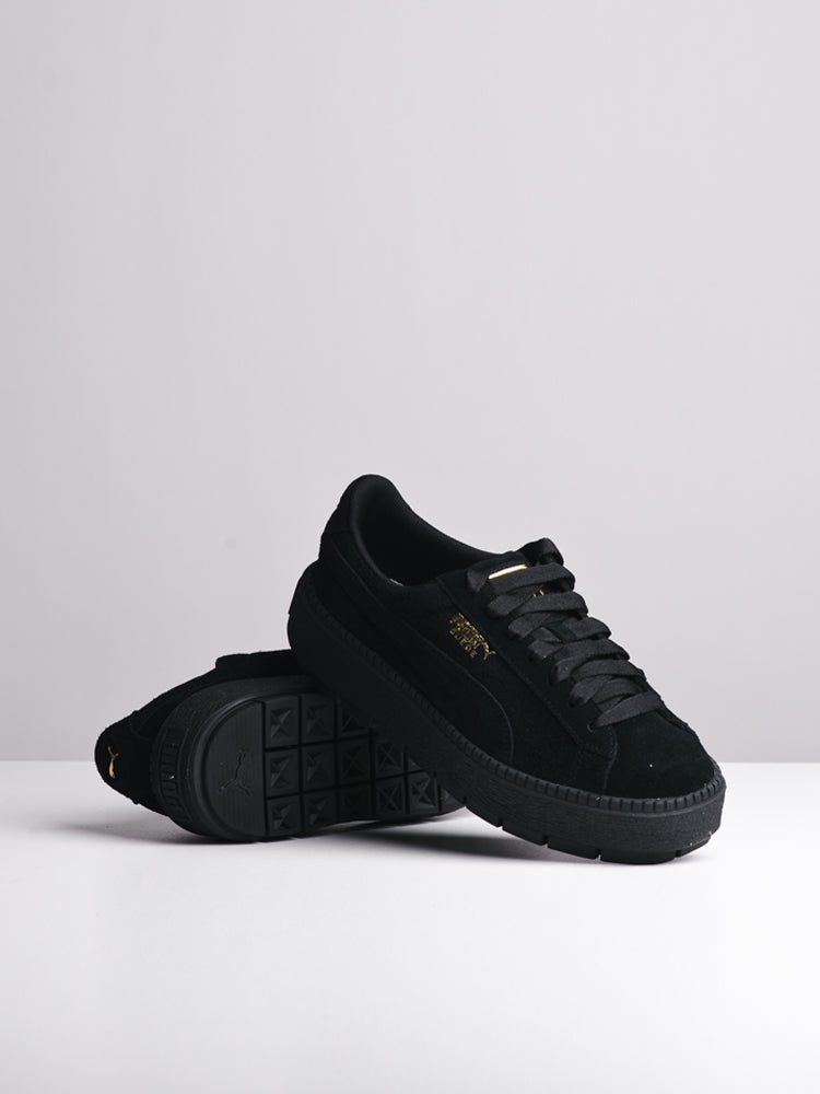 WOMENS SUDE PLATFORM TRACE BLACK SNEAKERS- CLEARANCE