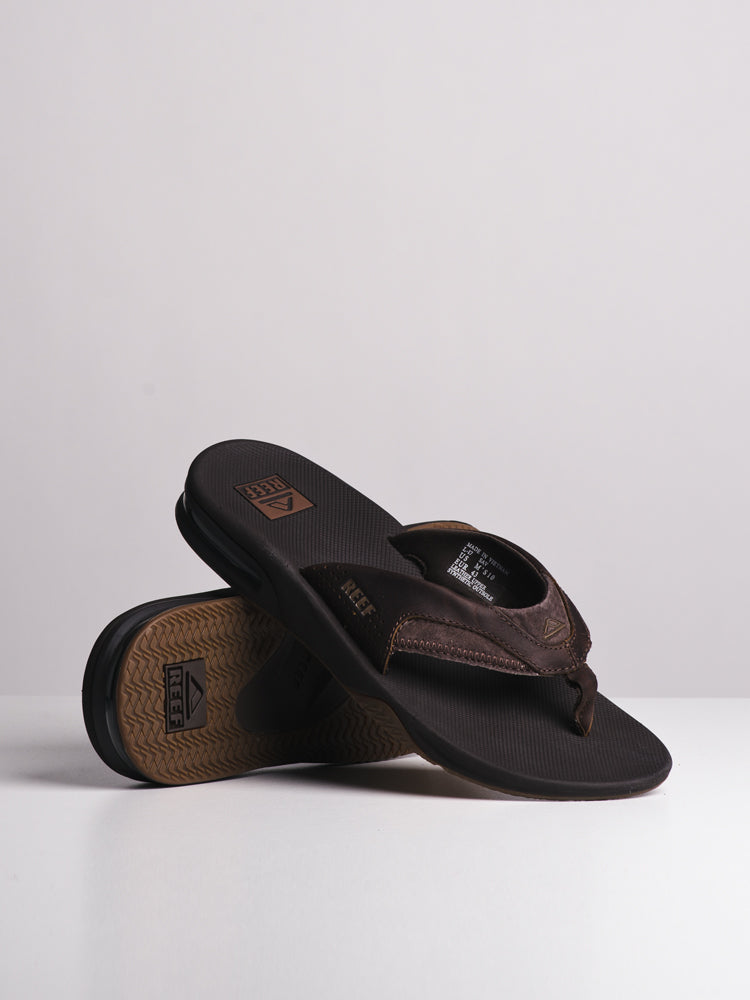 MENS LEATHER FANNING BROWN SANDALS- CLEARANCE