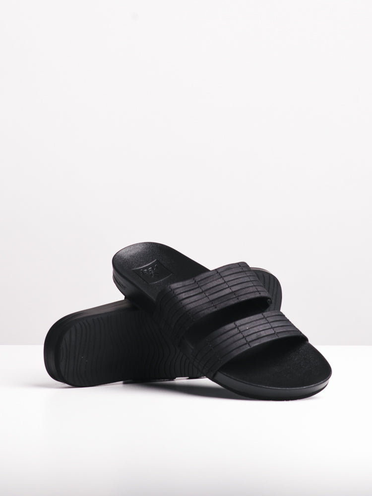 WOMENS CUSHION BOUNCE SLIDE BLACK SANDALS- CLEARANCE