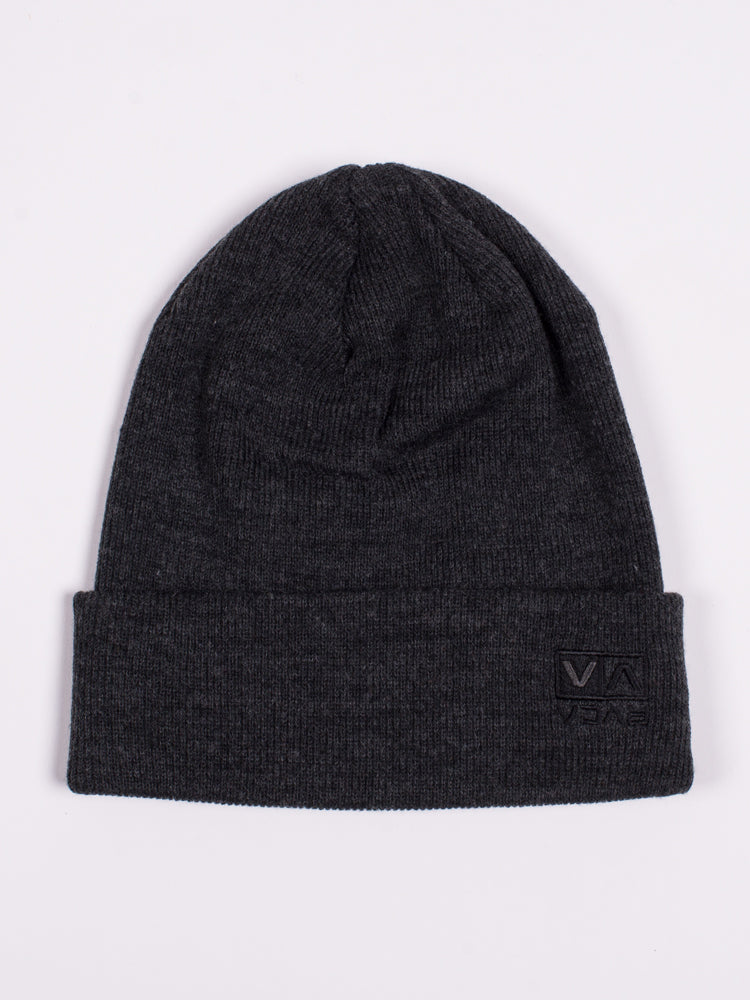 FLIPBOX EMBROIDERED BEANIE - CHARCOAL - CLEARANCE