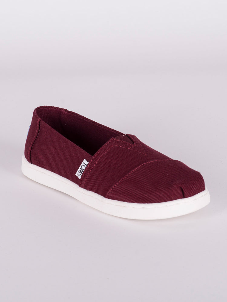 KIDS ALPARGATAS - BURGUNDY CANVAS - CLEARANCE