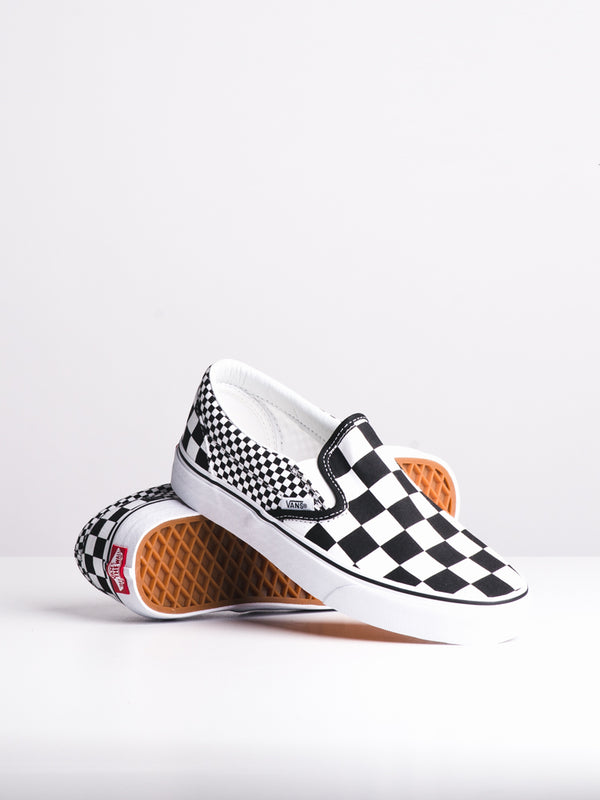 WOMENS CLASSIC SLIP ON MIXED CHECK CANVAS SHOES