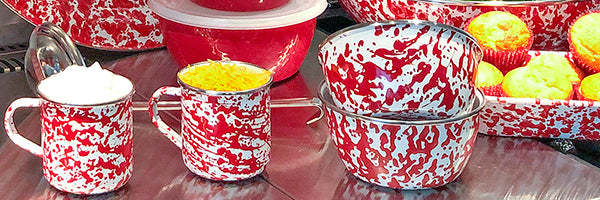 Red Swirl by Golden Rabbit Enamelware