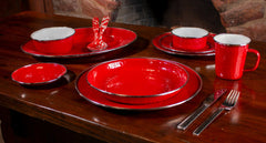 RR04S4 - Set of 4 Solid Red Pasta Plates Image 4