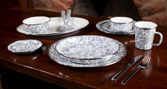 GY04S4 - Set of 4 Grey Swirl Pasta Plates Image 4