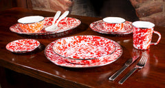RD04S4 - Set of 4 Red Swirl Pasta Plates Image 4