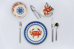 CR07S4 - Set of 1 Crab House Dinner Plates Lifestyle 1