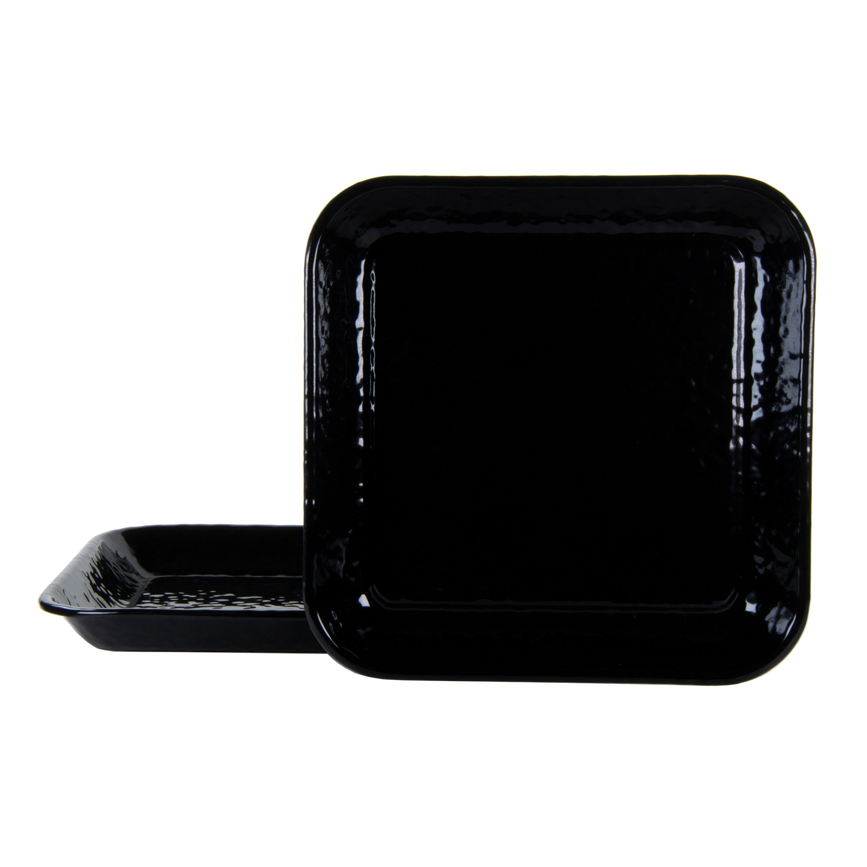 BK09S2 - Set of 2 Solid Black Square Trays Image 1