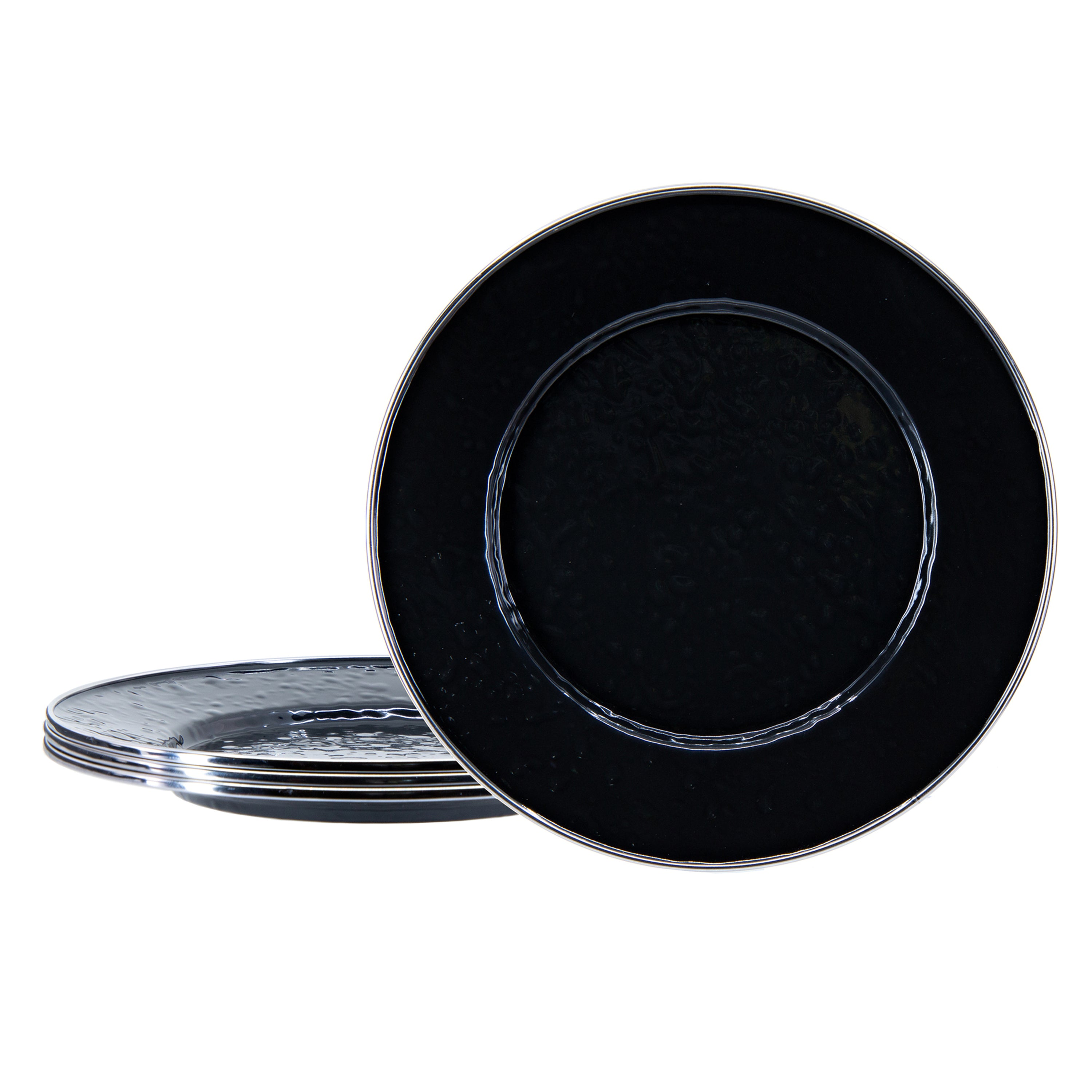 BK11S4 - Set of 4 Solid Black Sandwich Plates Image 1