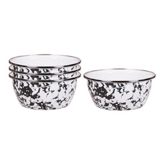 BL61S4 - Set of 4 Black Swirl Salad Bowls Image 1