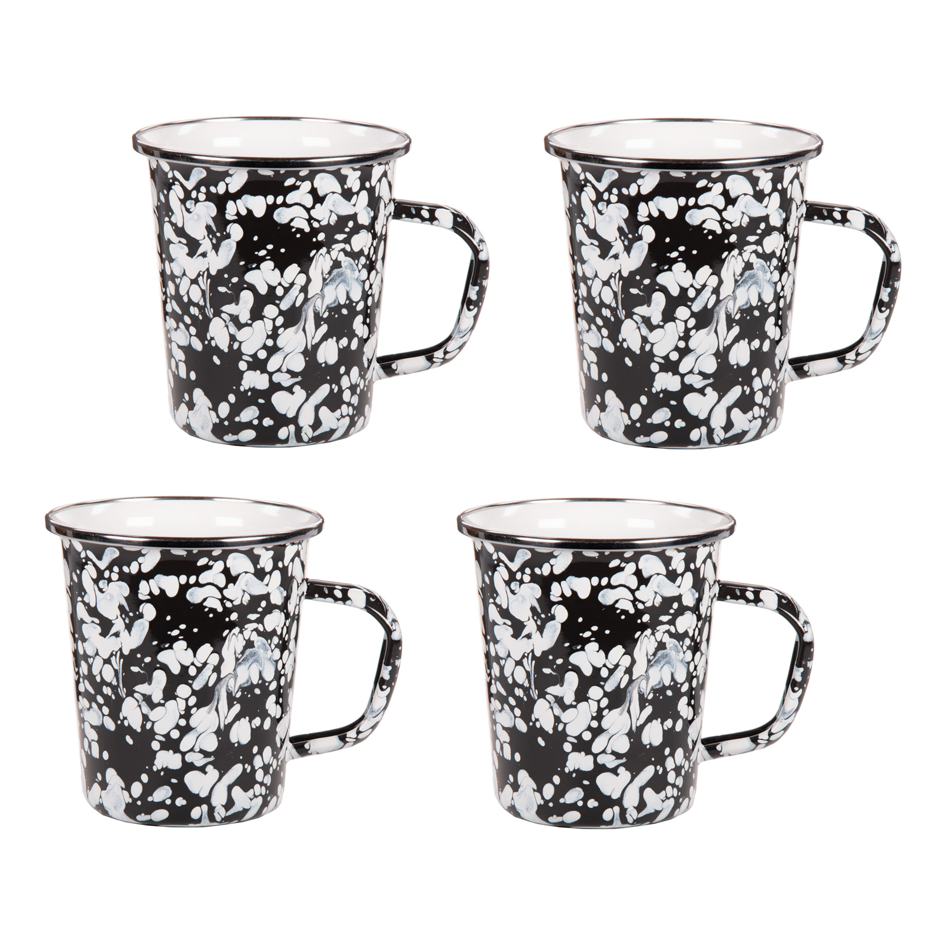BL66S4 - Set of 4 Black Swirl Latte Mugs Image 1