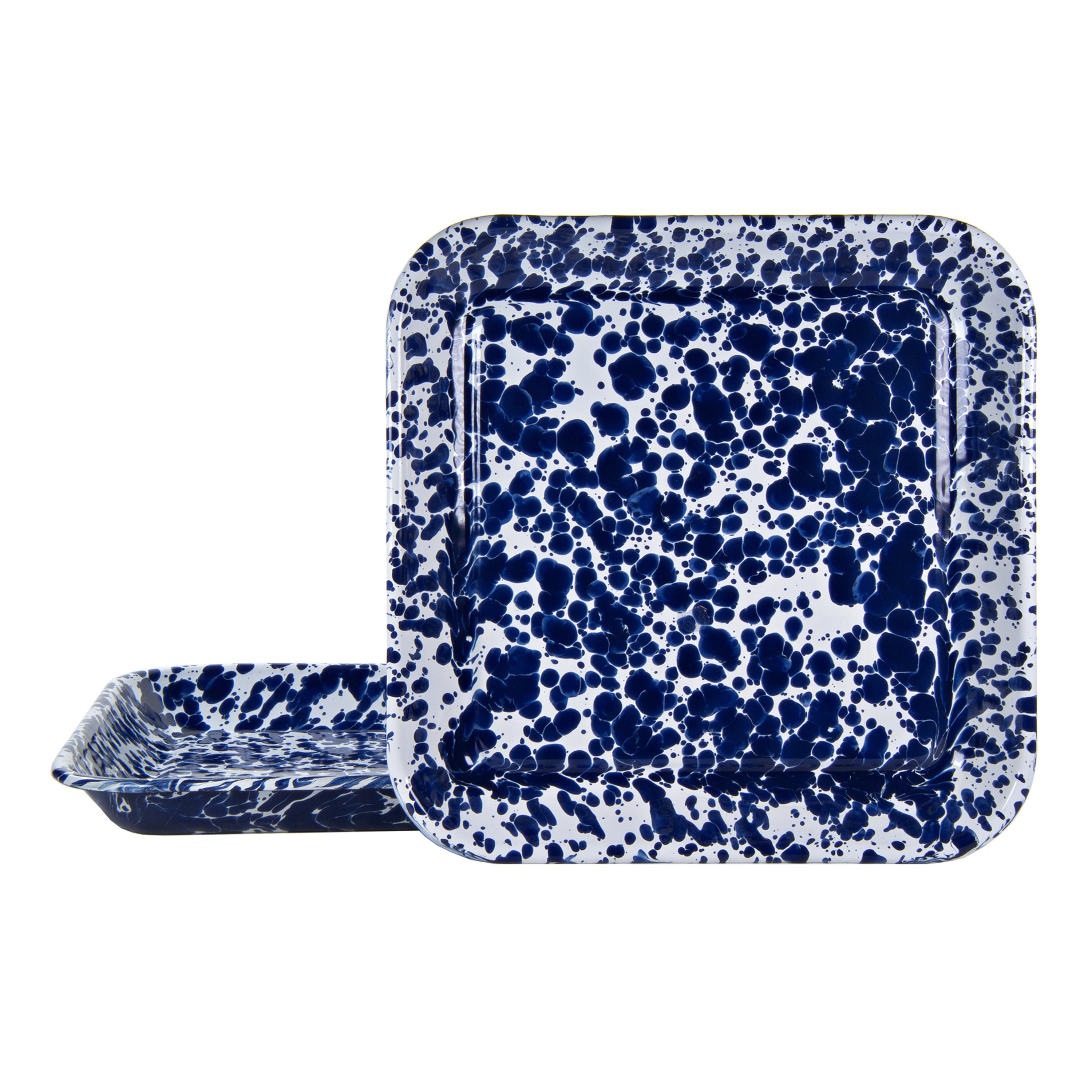 CB09S2 - Set of 2 Cobalt Swirl Square Trays Image 1