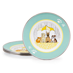 Set of 4 Raining Cats and Dogs Child Plates