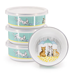 Set of 4 Raining Cats and Dogs Child Bowls