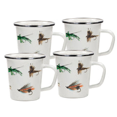 Set of 4 Fishing Fly Latte Mugs