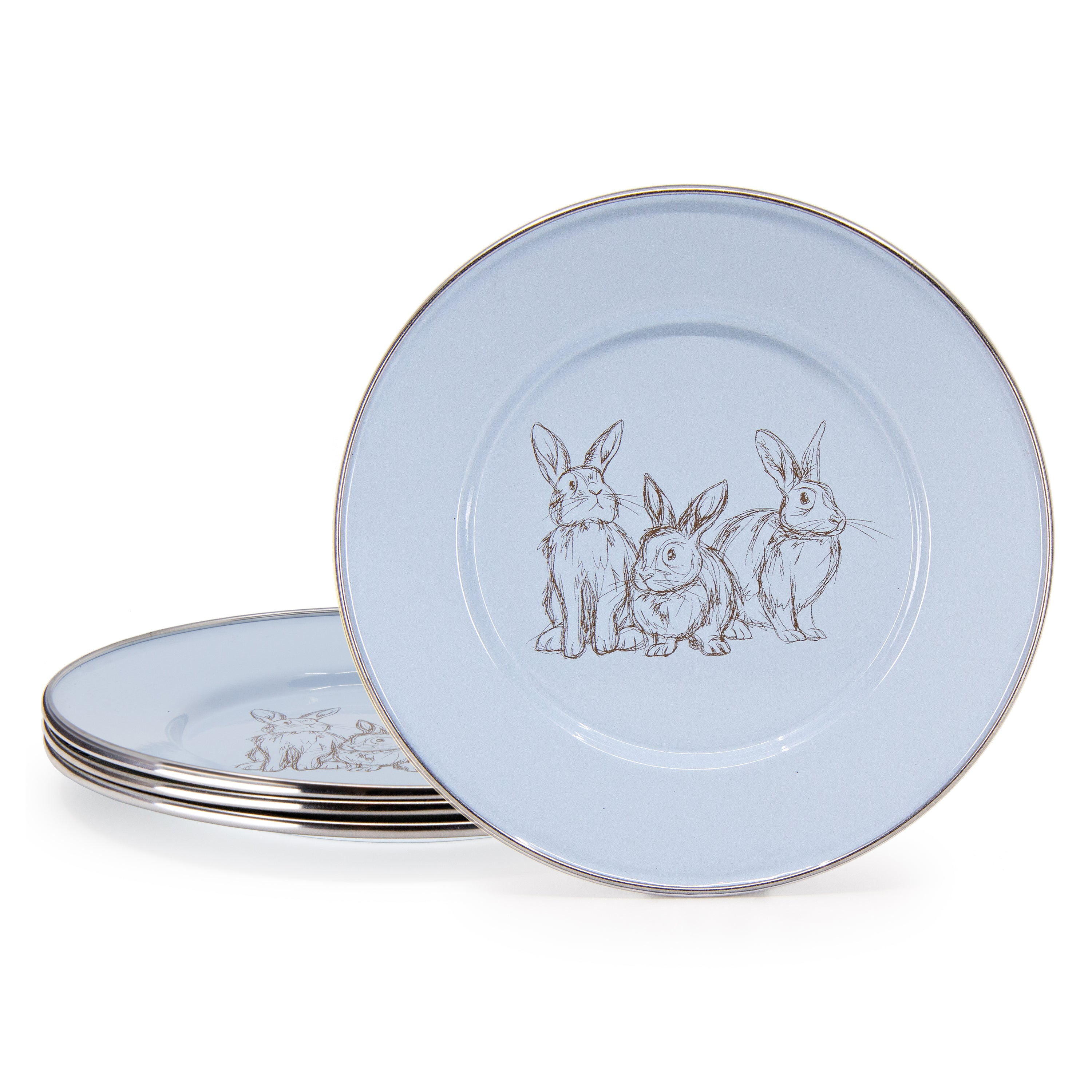 Set of 4 Blue Bunnies Child Plates