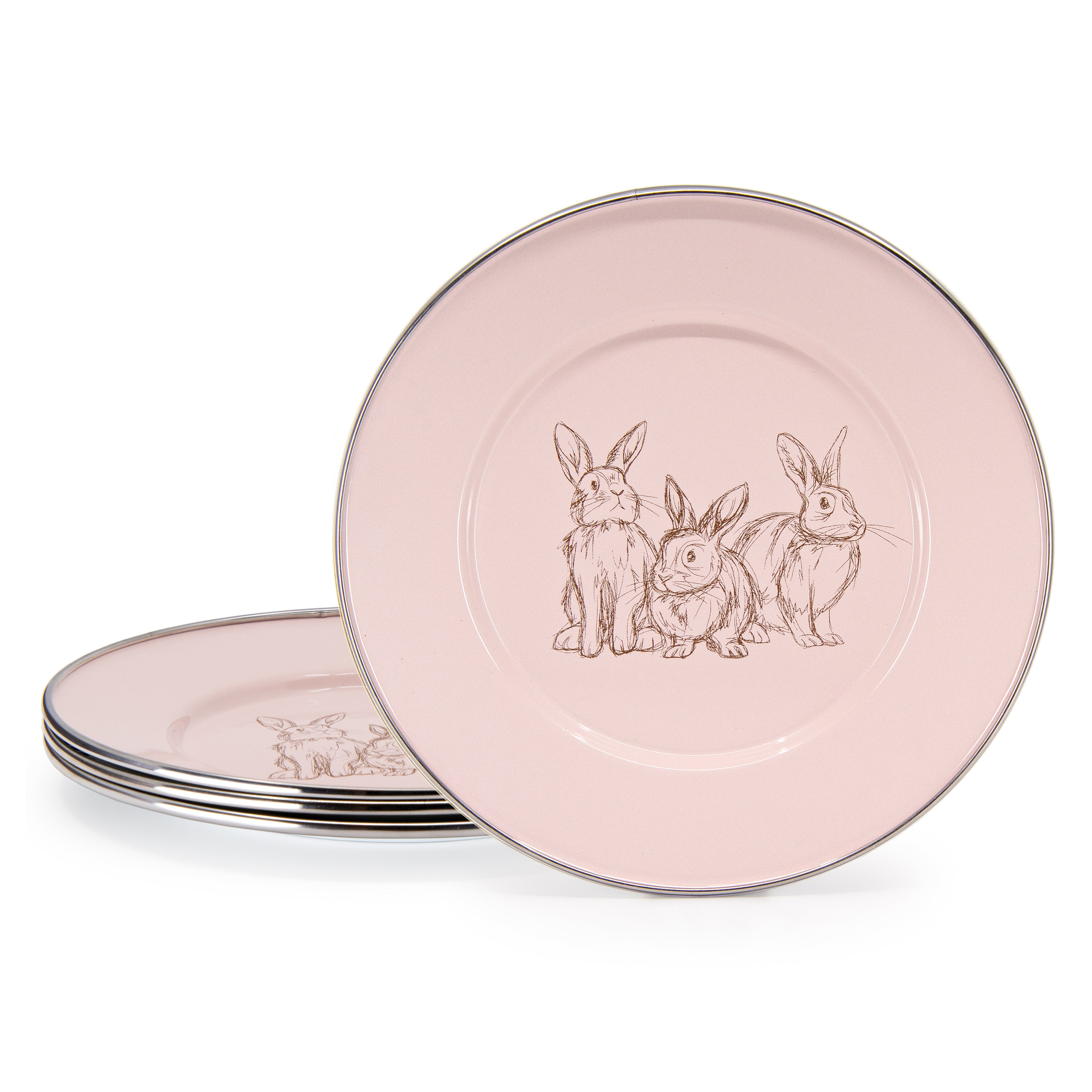 Set of 4 Pink Bunnies Child Plates