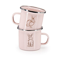 Set of 4 Pink Bunnies Child Mugs