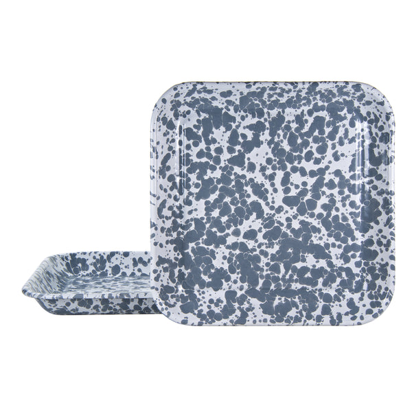 GY09S2 - Grey Swirl - Set of 2 - Enamelware 10.5 Inch Square Trays by Golden Rabbit