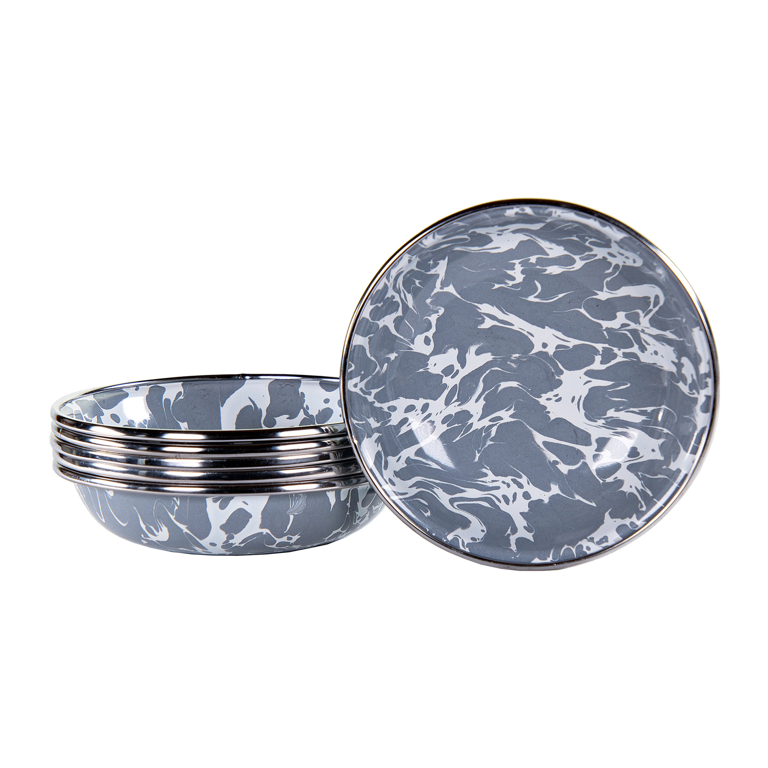 GY59S6 - Set of 6 Grey Swirl Tasting Dishes Image 1