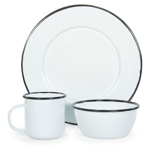 Rolled Black Rim Plate Set/4
