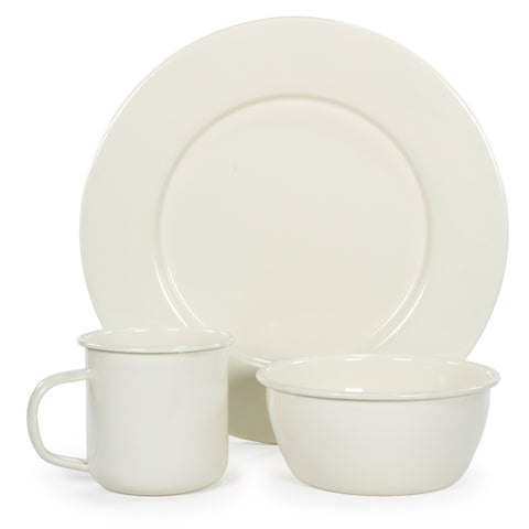Rolled Cream Plate Set/4