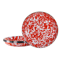 RD04S4 - Set of 4 Red Swirl Pasta Plates Image 1