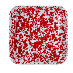 RD09S2 - Set of 2 Red Swirl Square Trays Image 2