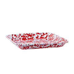 RD09S2 - Set of 2 Red Swirl Square Trays Image 3